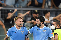 26th September 2021;  Stadio Olimpico, Rome, Italy; Italian Serie A football, SS Lazio versus AS Roma; Ciro Immobile of SS Lazio and Luis Alberto of SS Lazio
