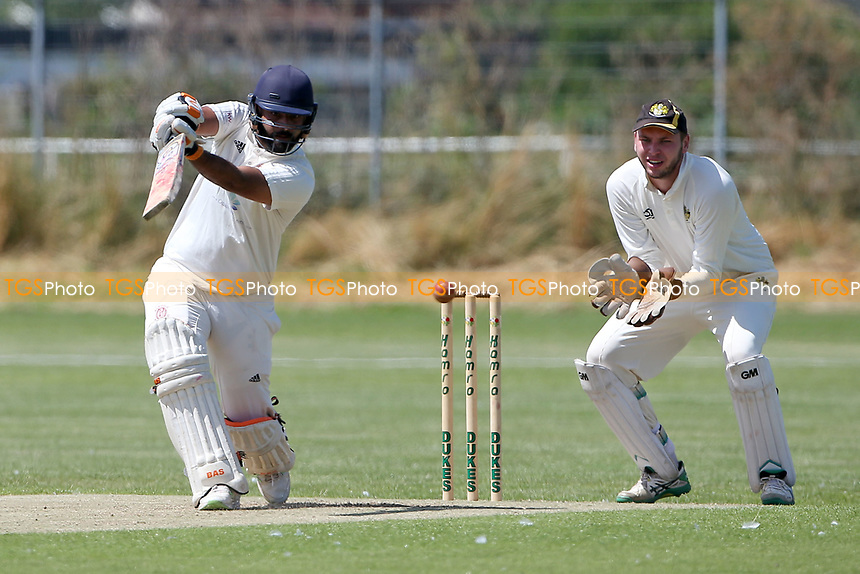 Paresh Kalley in batting action for Oakfield during Oakfield Parkonians CC (batting) vs Gidea Park and Romford CC, Hamro Foundation Essex League Cricket at Oakfield Playing Fields on 17th July 2021
