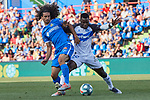 Marc Cucurella of Getafe CF and Wakaso Mubarak of Deportivo Alaves during La Liga match between Getafe CF and Deportivo Alaves at Colisseum Alfonso Perez in Getafe, Spain. August 31, 2019. (ALTERPHOTOS/A. Perez Meca)