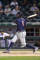 Willi Castro (5) of the Toledo Mud Hens follows through on his swing against the Charlotte Knights at BB&T BallPark on April 24, 2019 in Charlotte, North Carolina. The Knights defeated the Mud Hens 9-6. (Brian Westerholt/Four Seam Images)