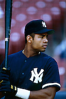 Ruben Rivera of the New York Yankees at Anaheim Stadium in Anaheim,California during the 1996 season. (Larry Goren/Four Seam Images)