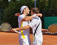 2013-08-17, Netherlands, Raalte,  TV Ramele, Tennis, NRTK 2013, National Ranking Tennis Champ,  Cellebrating their doubles win Sidney de Boer(L) and Daan Maasland<br /> <br /> Photo: Henk Koster