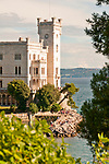 Castello di Miramare, built from 1856 to 1860 for Austrian Archduke Maximilian, with a view of the Gulf of Trieste, Italy