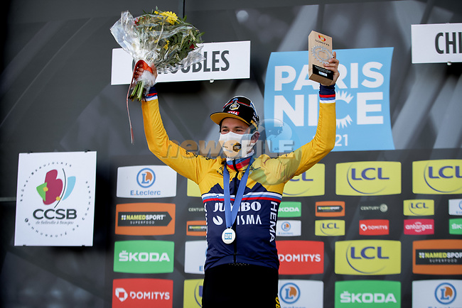 Slovenian Champion Primoz Roglic (SLO) Team Jumbo-Visma wins Stage 4 of Paris-Nice 2021, running 187.5km from Chalon-sur-Saone to Chiroubles, France. 10th March 2021.<br /> Picture: ASO/Fabien Boukla | Cyclefile<br /> <br /> All photos usage must carry mandatory copyright credit (© Cyclefile | ASO/Fabien Boukla)