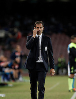 Calcio, Serie A: Napoli vs Juventus. Napoli, stadio San Paolo, 26 settembre 2015. <br /> Juventus' coach Massimiliano Allegri leaves the pitch at the end pf the Italian Serie A football match between Napoli and Juventus at Naple's San Paolo stadium, 26 September 2015. Napoli won 2-1.<br /> UPDATE IMAGES PRESS/Isabella Bonotto