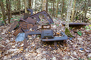 Abandoned logging camp along a tributary of the Wild Ammonoosuc River, on the side of Mt. Blue, in Benton, New Hampshire USA. This is probably a 1900s logging camp of the Fall Mountain Paper Company, which later became the International Paper Company. The removal of historical artifacts from federal lands without a permit is a violation of federal law.