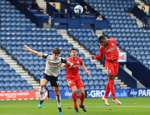 31st October 2020; Deepdale Stadium, Preston, Lancashire, England; English Football League Championship Football, Preston North End versus Birmingham City; Jonathan Leko of Birmingham City head as goal but sees his effort fly high of the crossbar