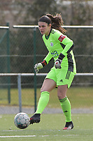 Goalkeeper Louise Van Den Bergh (1) of OHL  pictured during a female soccer game between Club Brugge Dames YLA and Oud Heverlee Leuven on the first matchday in Play-Off 1 of the 2020 - 2021 season of Belgian Scooore Womens Super League , saturday 3 th April 2021  in Brugge , Belgium . PHOTO SPORTPIX.BE | SPP | DIRK VUYLSTEKE