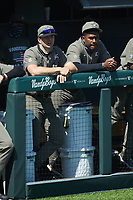 (L-R) Vanderbilt Commodores pitchers Jack Leiter (22) and Kumar Rocker (80) watch from the dugout during the game against the South Carolina Gamecocks at Hawkins Field on March 21, 2021 in Nashville, Tennessee. (Brian Westerholt/Four Seam Images)