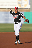 Luis Marte (16) of the High Desert Mavericks makes a throw during a game against the Inland Empire 66ers at Mavericks Stadium on May 6, 2015 in Adelanto, California. Inland Empire defeated High Desert, 10-4. (Larry Goren/Four Seam Images)
