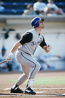 Chad Townsend of the San Bernardino Stampede bats in a game against the Rancho Cucamonga Quakes during the 1996 baseball season at The Epicenter in Rancho Cucamonga, California. (Larry Goren/Four Seam Images)