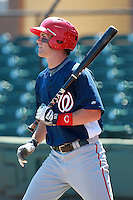 Washington Nationals minor league outfielder Bryce Harper (34) on deck during a game vs. the Detroit Tigers in an Instructional League game at Joker Marchant Stadium in Lakeland, Florida October 1, 2010.   Harper was selected in the first round, 1st overall, of the 2010 MLB Draft out of Southern Nevada Junior College.  Photo By Mike Janes/Four Seam Images