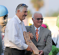 Rollie Fingers (left) was inducated by league president Charlie Blaney into the California League Hall of Fame prior to the 2019 California League All-Star Game at San Manuel Stadium on June 18, 2019 in San Bernardino, California (Bill Mitchell)