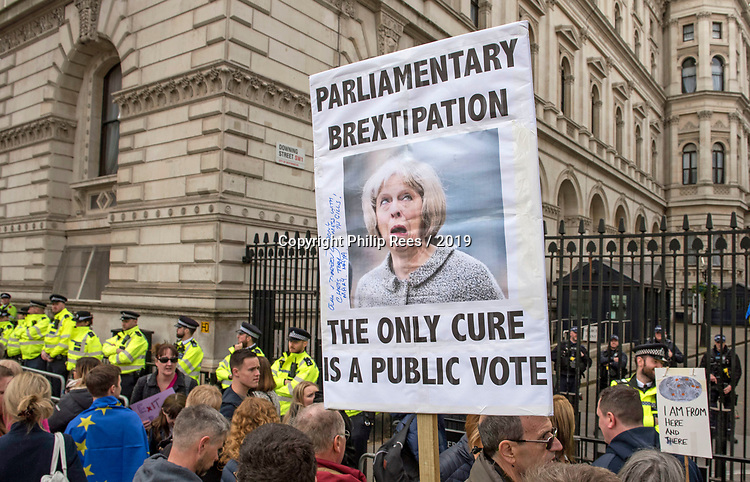 """The """"Put it to the People"""" rally makes it's way past Downing Street in London today. Demonstrators from across the country gathered to call for a second referendum on Brexit and to march through the UK capital finishing with speeches in Parliament Square opposite the Houses of Parliament in Westminster."""