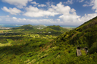 Looking northeast from Pali Lookout provides outstanding views of the windward side of O'ahu.  Note the highway and tunnels in the lower right corner of this image.<br /> <br /> Canon EOS 5D, 24-105L lens