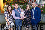 The christening party of Penelope Rose Collins from Tralee in the Brandon Hotel on Saturday..<br /> Carol Moriarty (GM), Tomas and Mandy Collins and Frank O'Donoghue (GF).