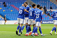 Kieffer Moore (L) of Cardiff City celebrates with team mates, his goal from the penalty spot during the Sky Bet Championship match between Cardiff City and Preston North End at the Cardiff City Stadium, Cardiff, Wales, UK. Saturday 20 February 2021