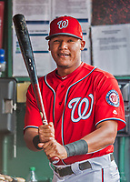 29 July 2017: Washington Nationals catcher Pedro Severino swings a bat in the dugout prior to a game against the Colorado Rockies at Nationals Park in Washington, DC. The Rockies defeated the Nationals 4-2 in the first game of their 3-game weekend series. Mandatory Credit: Ed Wolfstein Photo *** RAW (NEF) Image File Available ***