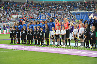 The teams line up during the UEFA Champions league final Women's football between Lyon and Paris Saint-Germain at Cardiff City Stadium on 1st June 2017<br /> <br /> <br /> Jeff Thomas Photography -  www.jaypics.photoshelter.com - <br /> e-mail swansea1001@hotmail.co.uk -<br /> Mob: 07837 386244 -