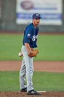 Aaron Ashby (38) of the Helena Brewers delivers a pitch to the plate against the Ogden Raptors at Lindquist Field on July 14, 2018 in Ogden, Utah. Ogden defeated Helena 8-6. (Stephen Smith/Four Seam Images)