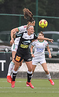 Amber Tysiak (3) of OH Leuven battles for the ball with Rebecca Degenaers (38) of Eendracht Aalst pictured during a female soccer game between Oud Heverlee Leuven and Eendracht Aalst on the second matchday of the 2021 - 2022 season of Belgian Womens Super League , sunday 29 nd of August 2021  in Heverlee , Belgium . PHOTO SPORTPIX.BE   JILL DELSAUX