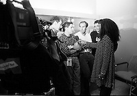 Montreal (Qc) CANADA - July 1992 File Photo - Juste Pour Rire Festival -  Les Bizarroides give an interview.<br /> In photo : Ken Scott, Stephane E Roy, Martin Petit, Guy A Levesque