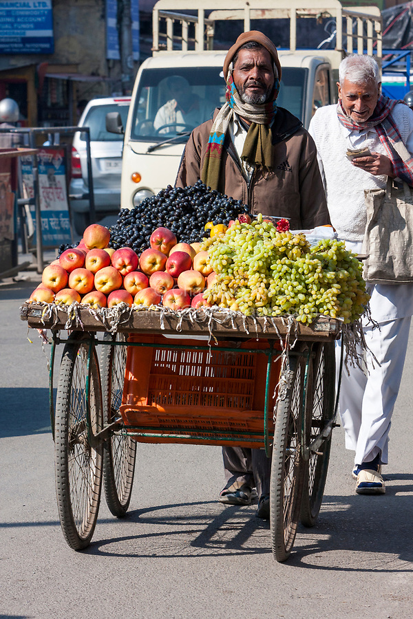 India, Dehradun. Fruit Vendor and his Cart in the Street.