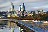 Azerbaijan, Baki, Baku, Flame Towers and Bulvar waterfront promenade