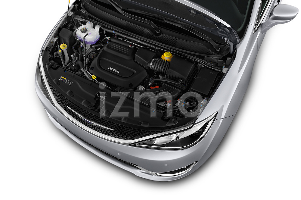 Car Stock 2017 Chrysler Pacifica Touring-L-Plus 5 Door Minivan Engine  high angle detail view