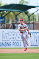 Palm Beach Cardinals third baseman Jacob Buchberger (27) throws to first base during a game against the Bradenton Marauders on May 30, 2021 at LECOM Park in Bradenton, Florida.  (Mike Janes/Four Seam Images)