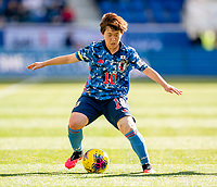HARRISON, NJ - MARCH 08: Yuka Momiki #10 of Japan dribbles during a game between England and Japan at Red Bull Arena on March 08, 2020 in Harrison, New Jersey.