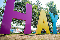 Hay on Wye, UK. Sunday 29 May 2016<br /> Pictured: Hay sign at the festival<br /> Re: The 2016 Hay festival take place at Hay on Wye, Powys, Wales