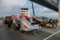 Aug 29, 2014; Clermont, IN, USA; The cars of NHRA funny car drivers Chad Head (left) and Tony Pedregon in the staging lanes for qualifying for the US Nationals at Lucas Oil Raceway. Mandatory Credit: Mark J. Rebilas-USA TODAY Sports