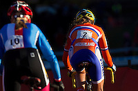 03 NOV 2012 - IPSWICH, GBR - Sophie de Boer (NED) (right) of the Netherlands makes her way round the course during the Elite Women's European Cyclo-Cross Championships in Chantry Park, Ipswich, Suffolk, Great Britain (PHOTO (C) 2012 NIGEL FARROW)