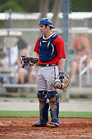 Connor Pavolony (12) while playing for Braves Scout Team/East Cobb based out of Marietta, Georgia during the WWBA World Championship at the Roger Dean Complex on October 19, 2017 in Jupiter, Florida.  Connor Pavolony is a catcher from Woodstock, Georgia who attends River Ridge High School.  (Mike Janes/Four Seam Images)