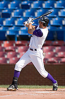 Jordan Danks #15 of the Winston-Salem Dash follows through on his swing versus the Potomac Nationals at Wake Forest Baseball Park May 10, 2009 in Winston-Salem, North Carolina. (Photo by Brian Westerholt / Four Seam Images)