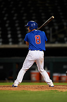 AZL Cubs 1 Henderson Perez (4) at bat during an Arizona League game against the AZL Padres 1 on July 5, 2019 at Sloan Park in Mesa, Arizona. The AZL Cubs 1 defeated the AZL Padres 1 9-3. (Zachary Lucy/Four Seam Images)