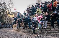 Sep Vanmarcke (BEL/Education First-Drapac) is the race leader up the Kapelmuur<br /> <br /> Omloop Het Nieuwsblad 2018<br /> Gent › Meerbeke: 196km (BELGIUM)