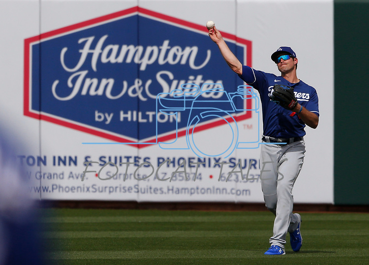 DJ Peters makes a play during a spring training game between the Texas Rangers and Los Angeles Dodgers in Surprise, Ariz., on Sunday, March 7, 2021.<br /> Photo by Cathleen Allison