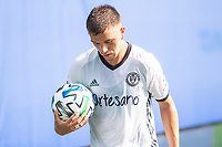 LAKE BUENA VISTA, FL - JULY 9: Kai Wagner #27 of the Philadelphia Union taking a corner kick during a game between New York City FC and Philadelphia Union at Wide World of Sports on July 9, 2020 in Lake Buena Vista, Florida.