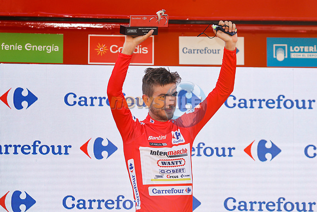 Race leader Odd Christian Eiking (NOR) Intermarché-Wanty-Gobert Matériaux retains the Red Jersey at the end of Stage 12 of La Vuelta d'Espana 2021, running 175km from Jaén to Córdoba, Spain. 26th August 2021.     <br /> Picture: Luis Angel Gomez/Photogomezsport | Cyclefile<br /> <br /> All photos usage must carry mandatory copyright credit (© Cyclefile | Luis Angel Gomez/Photogomezsport)