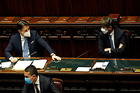The Italian Premier Giuseppe Conte and the minister of Culture Dario Franceschini wearing a face mask during the information at the Lower Chamber about the Government crisis..<br /> Rome(Italy), January 18th 2021<br /> Photo Samantha Zucchi/Insidefoto