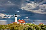 Portland Head Light on Casco Bay, Cape Elizabeth, ME, USA