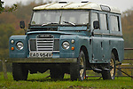 Blue 1970's Land Rover LWB Station Wagon. --- No releases available. Automotive trademarks are the property of the trademark holder, authorization may be needed for some uses.