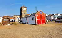 Sea front houses and shingle beach of Aldeburgh - Suffolk - England