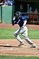 Gilbert Lara (6) of the Helena Brewers at bat against the Ogden Raptors in Pioneer League action at Lindquist Field on July 16, 2016 in Ogden, Utah. Ogden defeated Helena 5-4. (Stephen Smith/Four Seam Images)