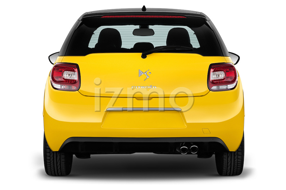 Straight rear view of a 2013 Citroen DS3 Sport Chic 3 Door Hatchback 2WD