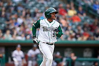 Fort Wayne TinCaps Xavier Edwards (9) hits a single during a Midwest League game against the Kane County Cougars at Parkview Field on May 1, 2019 in Fort Wayne, Indiana. Fort Wayne defeated Kane County 10-4. (Zachary Lucy/Four Seam Images)