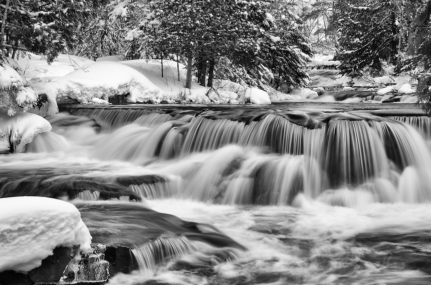 A detailed view of the Upper Bond Falls in black & white. Paulding, MI