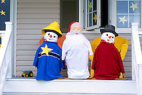 Cap-Egmont, PEI, Prince Edward Island, Canada - Blue, White, and Red / Bleu, Blanc, Rouge (Acadian Colours) Figures on Front Porch as Decoration for Annual National Acadian Festival